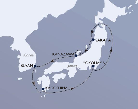 msc cruise japan map